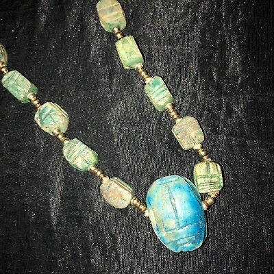 Vintage Egyptian Scarab Necklace Blue & Green Carved Stone