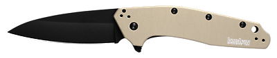 Kershaw Dividend Black Tan Flipper Assisted Opening Knife USA MADE 1812TANBLK