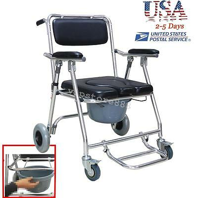 US Ship Mobile Commode Chair with 4 brakes, Wheels & Footrests Wheelchair Toilet