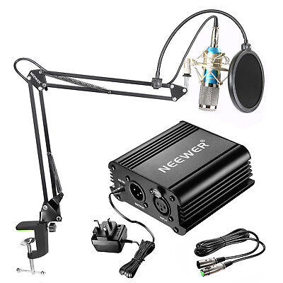 Neewer Blue NW-800 Condenser Microphone with Arm Stand and Phantom Power Supply