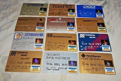 12 expired vintage Visa credit cards card lot for collectors NM-M 1990s