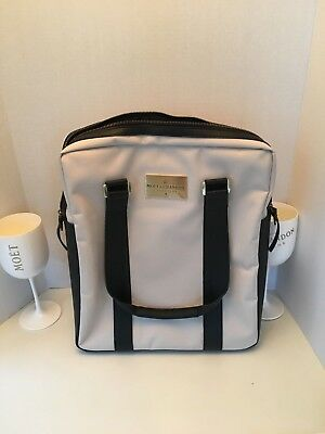 Moet & Chandon Laptop or Double-Bottle Bag, White with Blue Leather + 2 Flutes
