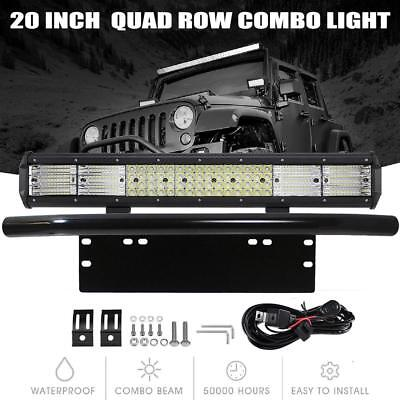 20inch Quad-row CREE LED Combo Light Bar + 23'' Number Plate Frame Mount Bracket