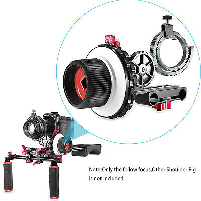 Neewer Red A-B Stop Follow Focus with Gear Ring Belt for Canon Nikon Sony