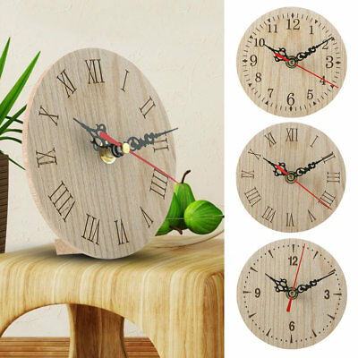 Small Wooden Wall Clock Vintage Chic Kitchen Office Living Room Decor