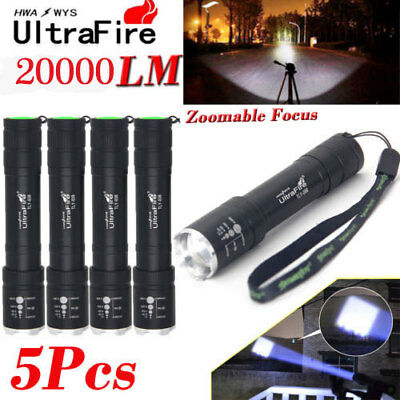 UltraFire Flashlight 20000Lm Zoomable T6 LED Torch Lamp Super Bright Light 18650