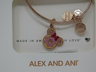 Disney Alex & Ani Minnie Doughnut Donut Food Snack Rose Gold Bracelet Bangle