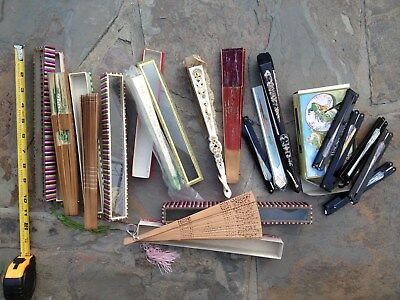 Chinese Asian Vintage Hand Folding Fan - Lot of 14 - Mint