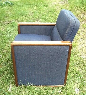 Mid Century Modern French Art Deco Walnut Upholstered Cube Club Chair