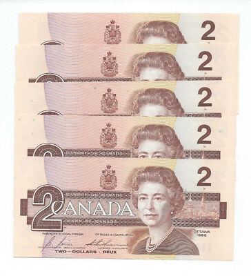 """5 Bank Of Canada Bank Notes $2 Two Dollars Consecutive Numbers """"cbj"""" Unc 1986"""