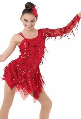 Dance Costume Medium Child Red Fringe Salsa Latin Jazz Duo Competition Pageant