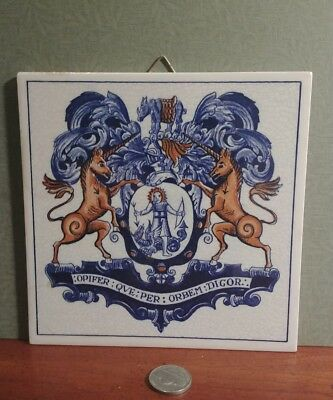 1982 Vintage Apothecaries Crest tile Delft Blue Holland Handmade almost 6 by 6