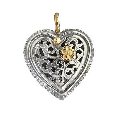 Gerochristo 1250 ~ Solid Gold & Sterling Silver Filigree Heart Pendant