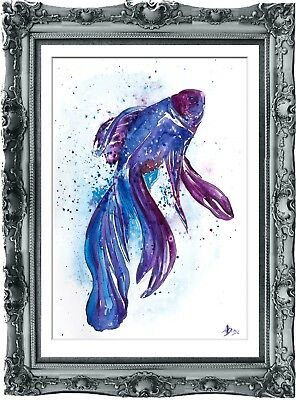 original painting art fish 1BA watercolor peinture A3