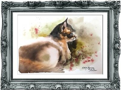 original painting cat aquarelle 1LM watercolor signed A4