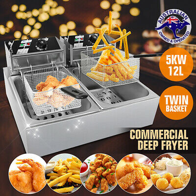Deep Fryer Twin Frying Chef Electric Commercial Basket Chip Cooker 5000W