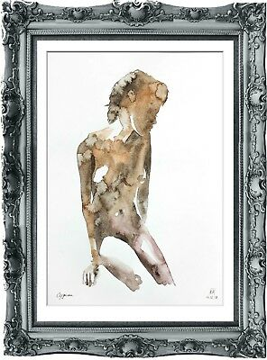 original drawing art abstract naked woman 16SA erotik watercolor