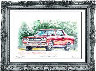original drawing car Chevrolet Chevy Muscle 1UV art watercolor signed A3