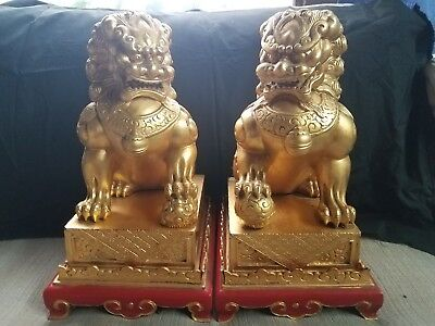 """Antique Hand Carved Wooden Chinese Lions """"Foo Dogs""""  +100 Years Old"""