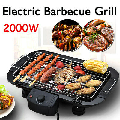Electric BBQ Teppanyaki Grill Smokeless Griddle Nonstick Barbeque Pan Hot Plate