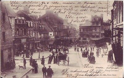 Cpa Flers Place Gambetta Belle Animation 1903