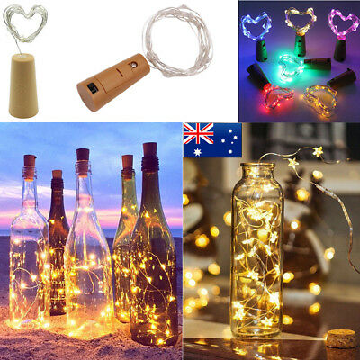 20 LED Cork Copper Wire Fairy String Lights Wine Bottle Wedding Party Decor AU