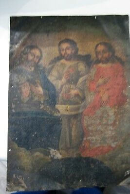 Original Antique Retablo On Tin Image Of The Holy Trinity 10'' By 14''