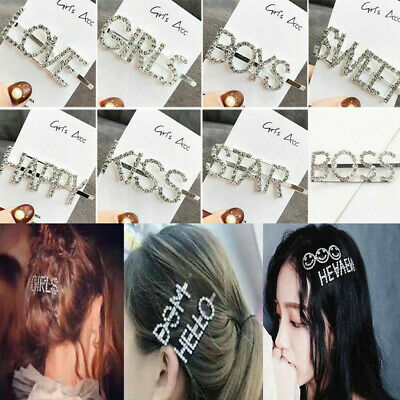 Women Hairpin Girls Crystal Rhinestone Words Hair Barrette Hair Clips Headwear