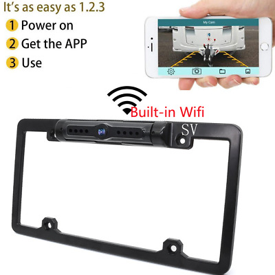 WiFi Vehicle Backup License Plate Frame Camera Rear View Fits Android IOS Device