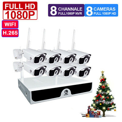 8CH 1080P NVR 3000TVL IP WIFI Home Wireless CCTV Security Camera System Outdoor