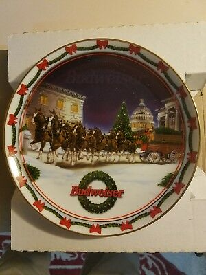 Budweiser Christmas Plate Holiday At The Capitol By Artist Gary Ciccarelli
