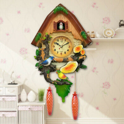 Antique Cuckoo Wall Clock Bird Time Bell Wooden Swing Alarm Watch Home Decor#