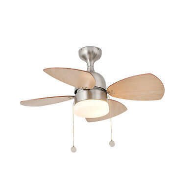 "Small indoor ceiling fan light Mediterraneo Nickel 81.5 cm / 32"" with pull cords"