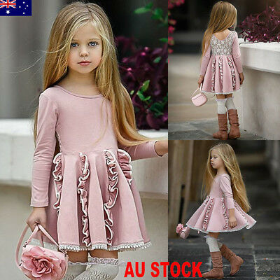 AU Boutique Toddler Baby Kids Girl Princess Spring Casual Dress Sundress Clothes