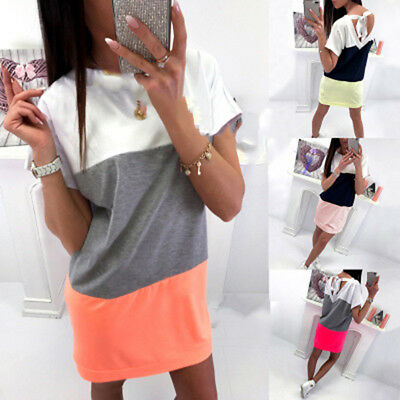 Women Summer Casual Patchwork Striped Short Sleeve Colorblock Spliced Dress LH