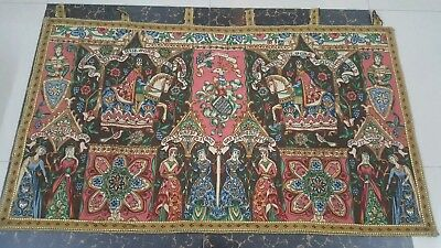 "Antique 19c Aubusson French print Tapestry Beautiful   size 50""x28cm127x72 damge"