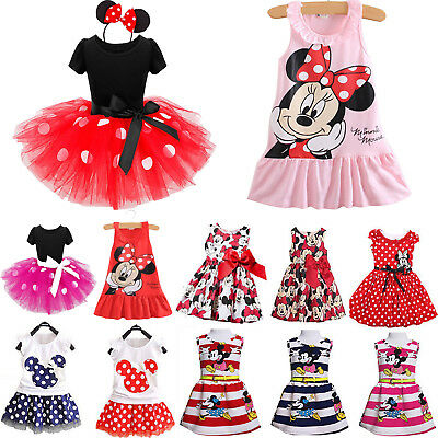 aee3c85c2 Kids Girl Minnie Mouse Party Princess Dress T-shirt + Skirt Cartoon Outfits  Sets