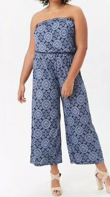 34706a3e6bf1 Forever 21 + Plus Oranate Tribal Print Strapless One Piece Jumpsuit Blue 4X  NEW