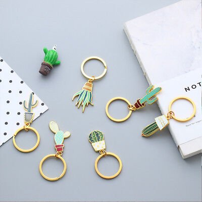 1pc Metal Vintage Cactus Keychains For Women Succulent Potted Plants Key Chain