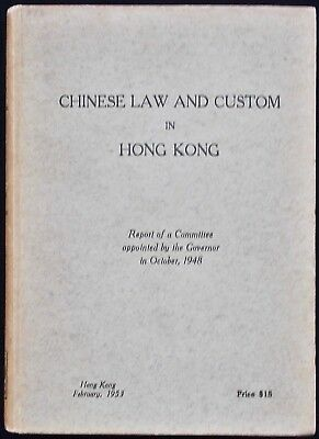 Rare 1953 Hong Kong Chinese Law & Custom In Hong Kong Legal System In Hong Kong