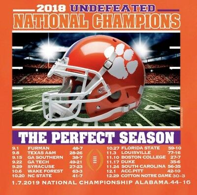 (2) Clemson Tigers 2018 Champions Undefeated Waterproof Vinyl Stickers 4x4 Decal