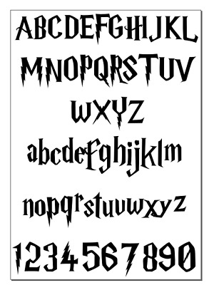 Alphabet Harry Potter inspired Vinyl Decal Wall Personalised Stickers A-Z & 0-9