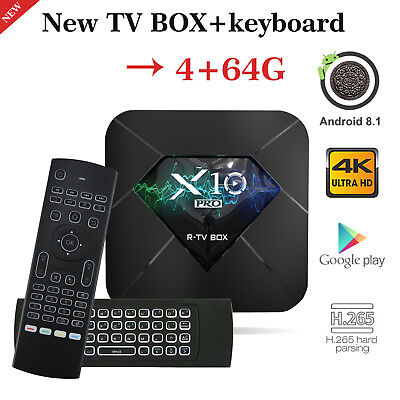 2019 4+64G DDR4 X10 PRO TV Box Android 8.1 Quad Core WIFI 3D 4K With Backlit MX3