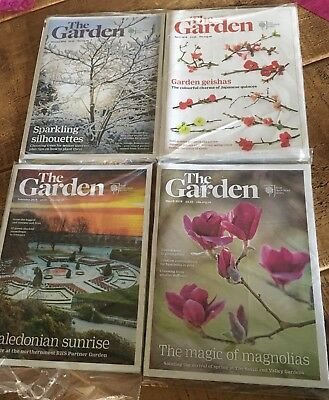 The Garden RHS Magazines x 4, Jan, Feb, Mar, April 2018, As Delivered, Unread