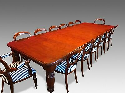 12ft Magnificent, 1831-1901, Grand English Victorian Cuban mahogany dining table