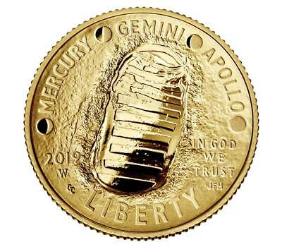 2019 APOLLO 11 50TH Anniversary W PROOF $5 GOLD COIN 19CA PRESALE