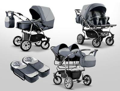New Baby Pushchair Pram  Sport Twin Double Travel System +2x Car Seat 20 Colours