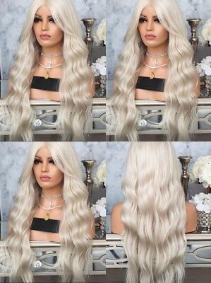 "24"" Lightest Blonde Wavy Long Lace Front Wig Heat Safe Fiber Hair Fashion"