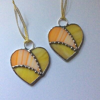 Pair Of Hand Made Stained Glass Heart Decorations