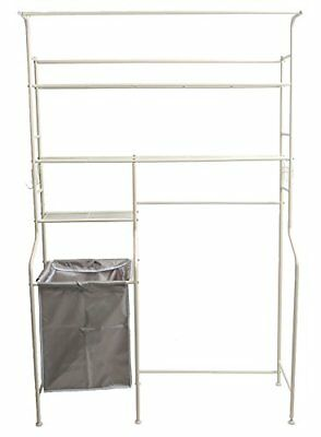 NEW Mind Reader Metal Long Washing Machine Shelf and Rack with 4 Hooks, White
